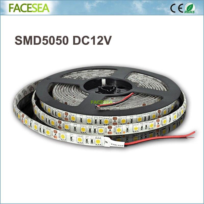 DC12V Led Strip 5Meter/lot SMD 5050 Waterproof IP65 60Led/m LED Tape Flexible Light RGB Warm White/Cool White/blue/green