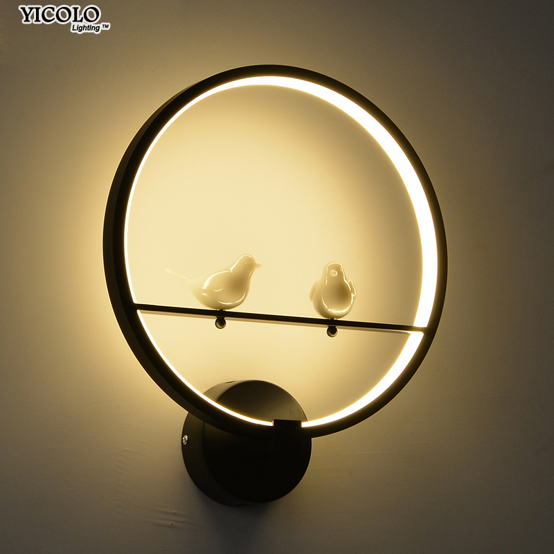 Modern Creative LED Wall Lamp for Bedroom Beside Two bird Wall Light Indoor Living Room Dining Room Corridor Lighting Decoration creative waterproof flowers pattern wall stickers for living room bedroom decoration