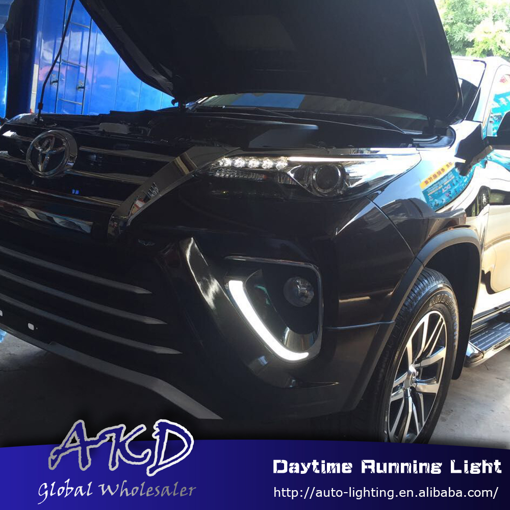 Car style led daytime running light for Toyota Fortuner 2016-2017 front drl for fortuner fog lamp with yellow turning signal bqlzr dc12 24v black push button switch with connector wire s ot on off fog led light for toyota old style