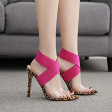 High Heel Pink Women Sandals Sexy Leopard Ladies Fashion Snakeski Transparent Celebrity Wearing Party Shoe