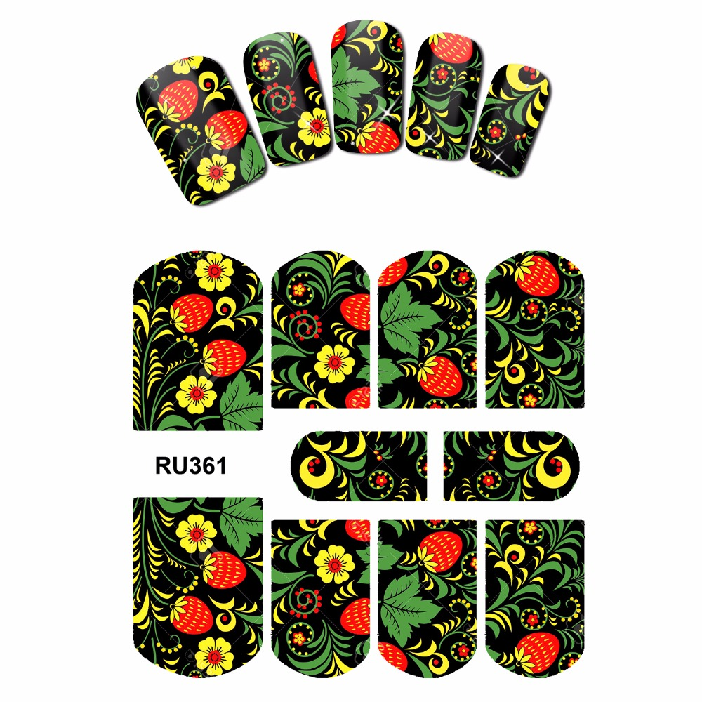 NAIL ART NAIL BEAUTY WATER STICKER DECAL SLIDER FULL COVER  TROPICAL FLOWER VINE CHERRY FRUIT ROSE RU361-366 4 packs lot full cover white french smile lace tattoos sticker water decal nail art d363 366w