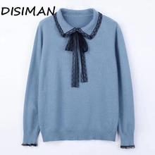 купить!  DISIMAN 2019 Свитер женский Повседневный пуловер и свитера с отложным воротником Трикотажные пуловер
