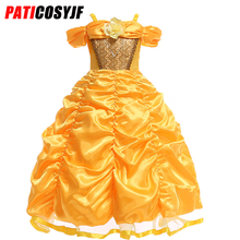 все цены на Fancy Belle Costume Birthday Party Wear Cosplay Beauty And The Beast Belle Princess Girls Dress Costume