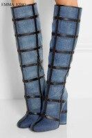 Популярные модные женские сапоги до колена из джинсовой ткани Zapatos De Mujer с острым носком на высоком квадратном каблуке, весенне осенняя женс