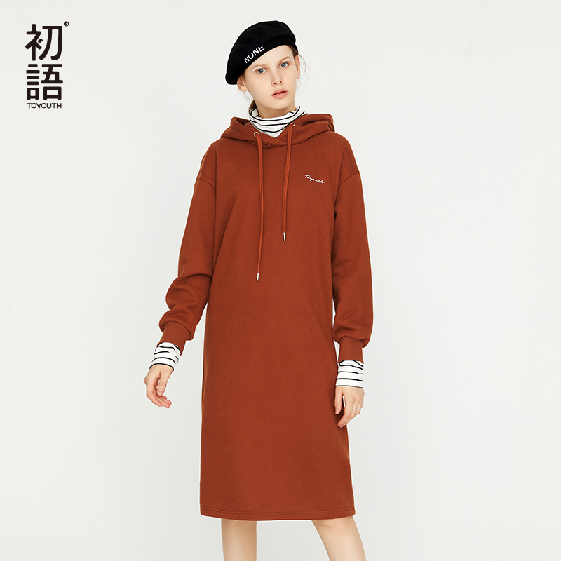 Toyouth Long Winter Women Dresses Hooded Loose Casual Sweatshirts Dress Long Sleeve Straight Thick Dresses Embroidery