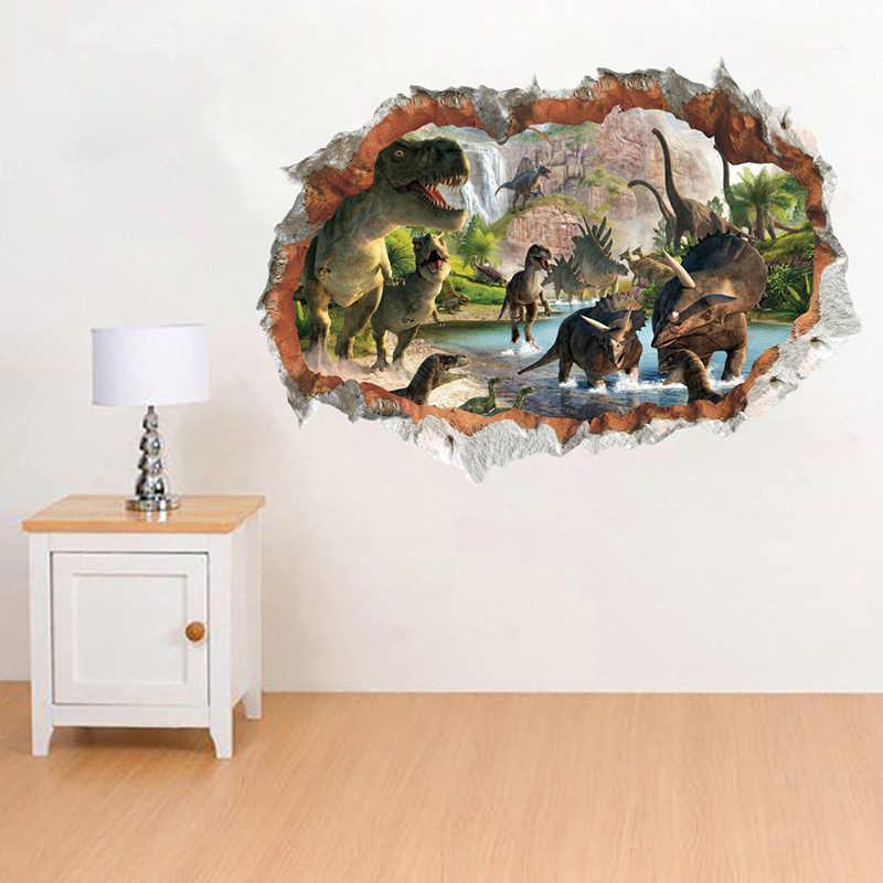 3D яркие динозавры декоративные наклейки на стену для детей Детская Настенная Наклейка для комнаты гостиная спальня