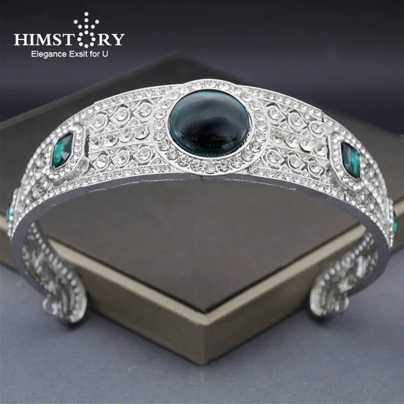 HIMSTORY Crystal Rhinestone Tairas Crown Princess Eugenie Green Wedding Bridal Tiara For Women Accessories Jewelry