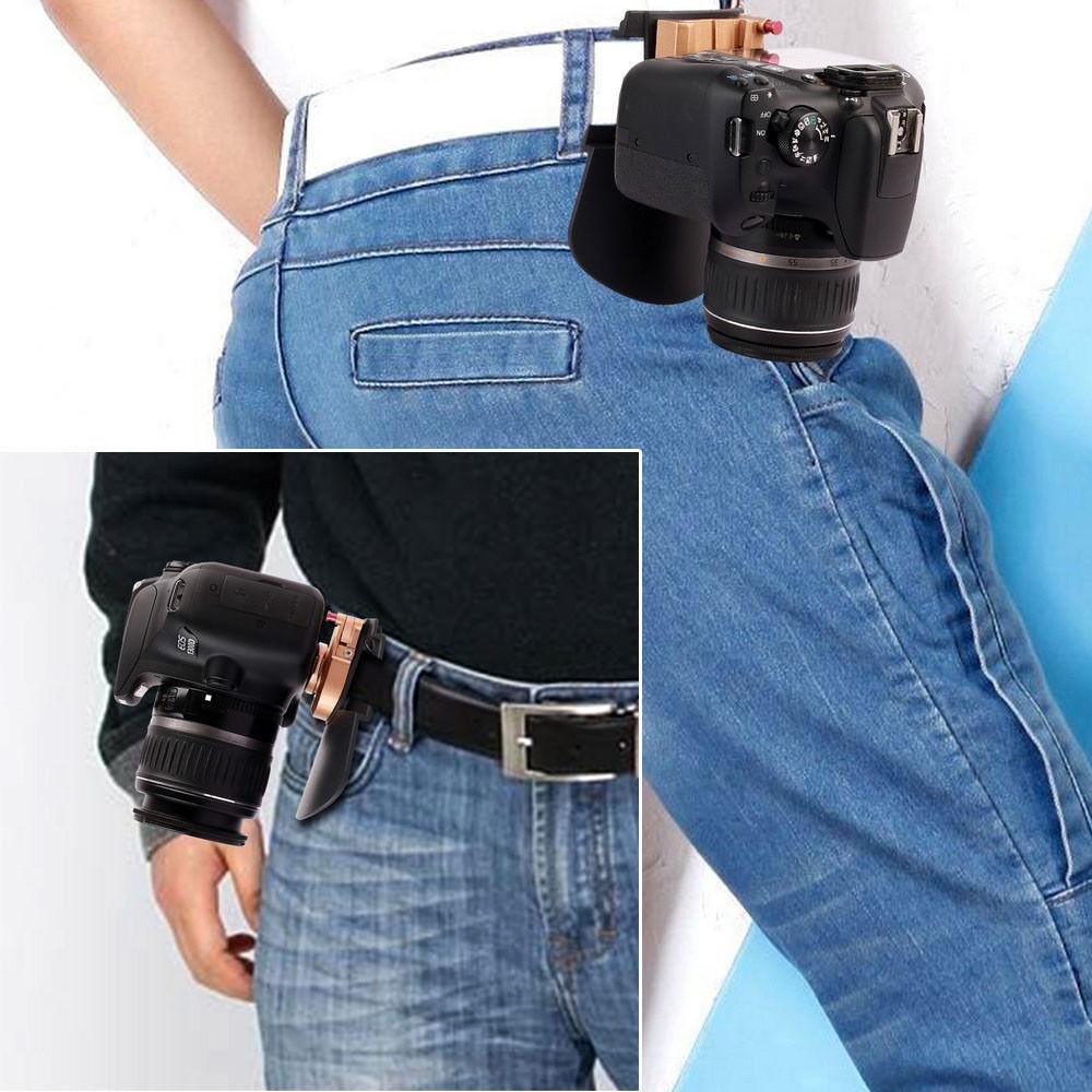 Camera Belt Holster Clip Waist Holder PE + ABS + Metal Clip Holder Quick Release Plate for 1/4'' Pro DSLR Video Digital Cameras convenient quick release nylon plastic waist pistol holder for m92 black