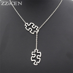 Fashion Casual Tibetan Autism Jewelry Awareness Jigsaw Double Puzzle Piece Pendant Adjustable Cross Lariat Necklace Gifts(China)
