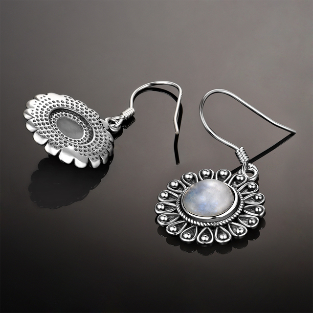 Round Natural Moonstone 7MM Pretty Flower 925 Sterling Sliver Drop Earrings Women's Anniversary Party Jewelry