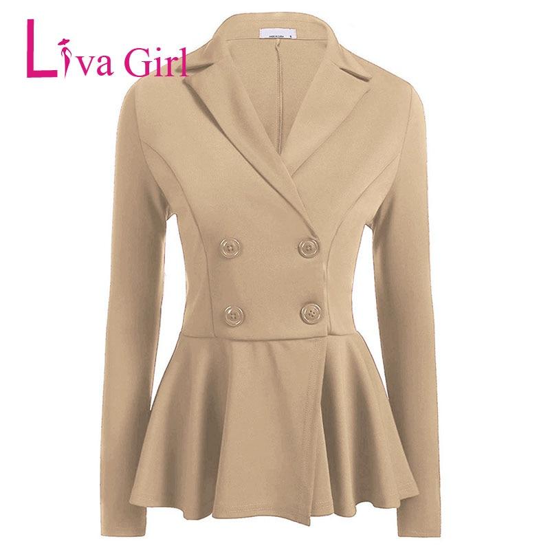 LIVA GIRL Elegant Office Double Breasted Plus Size Blazer Women Spring Long Sleeve Coat White Red Black Work Slim Fit Jacket XXX