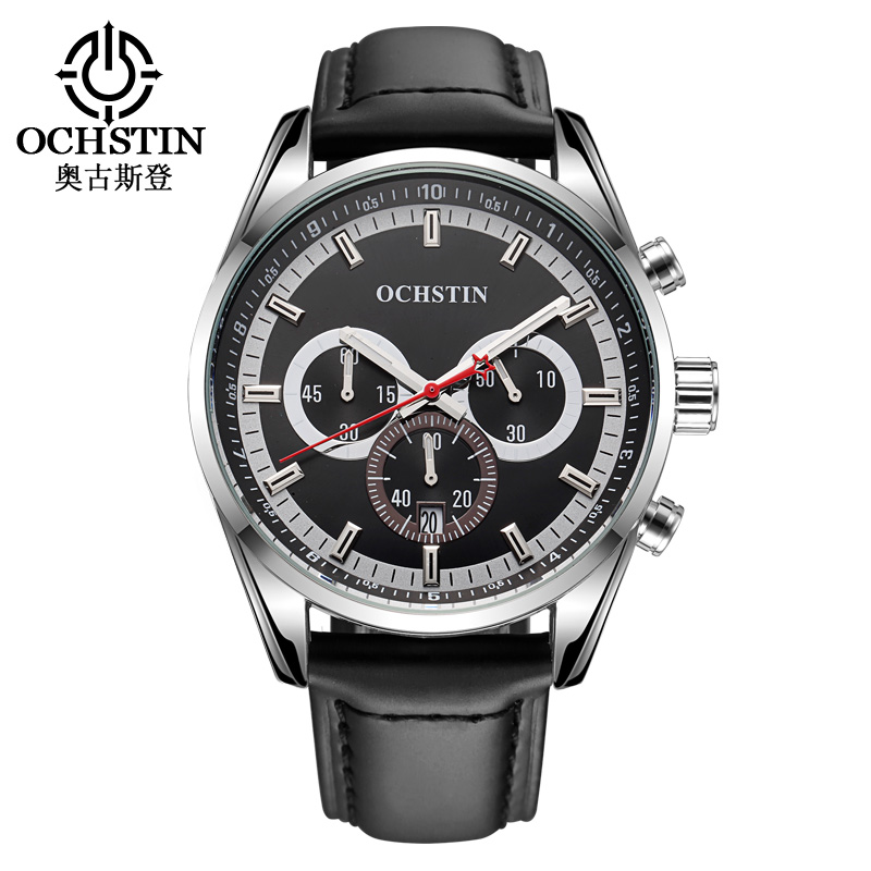 2016 Luxury Brand OCHSTIN Quartz Watches Men analog chronograph Clock Men Sports Military watch Leather Strap