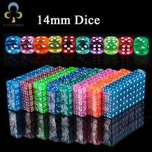 10 шт. 14 мм прозрачные разноцветные кубики Прозрачные Кубики для настольного игрового бара камблинг игры Rpg игровые Клубные вечерние аксессуары GYH