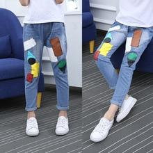 Patrón de dibujos animados lindo niños Jeans primavera otoño niños de alta calidad Pantalones Casual pantalones niñas Jeans