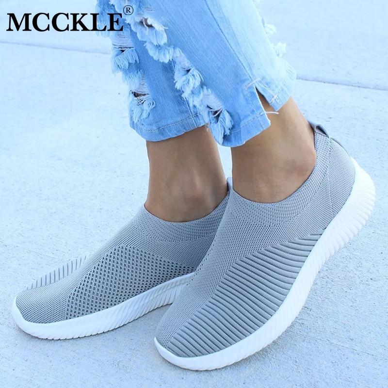 MCCKLE Plus Größe Frauen Casual Stricken Socke Turnschuhe Stretch Flache Plattform Mode Damen Slip Auf Schuhe Weibliche Freizeit Schuhe