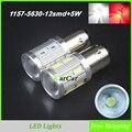750LM P21/5 W LED Traseira Luzes Da Cauda 1157 LEVOU Estacionamento Lâmpada 12SMD 5630 + 5 W Chip, 12 V Carro Lâmpada Soquete 2057 2357 Luzes de Freio BAY15D