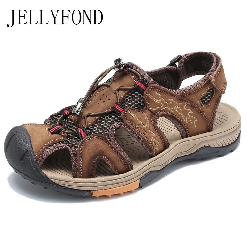 Men Summer Shoes Designer Sandals Men Genuine Leather Shoes Male Casual Shoes Breathable Beach Sandals Soft Flat Sandals