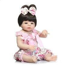 "55cm Girl Doll Reborn 22 ""Full Silicone Vinyl Body Kids Play House Leksaker Bebe Gift Boneca Reborn Baby Doll In Pink Silky Dress"