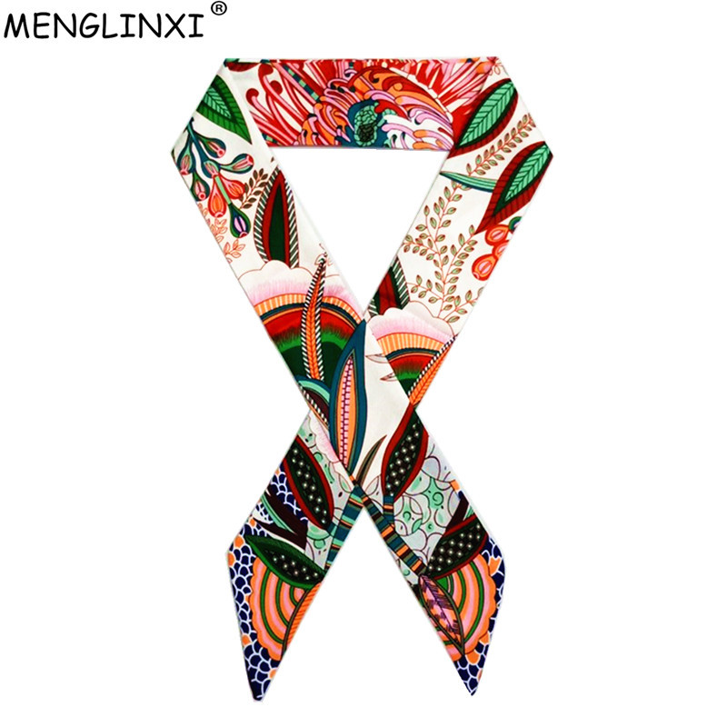 Bohemia Style Skinny Scarf 2020 New Fashion Brand Silk Scarf For Women Floral Print Head Scarf Long Handle Bag Scarves Wraps
