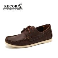 Men Shoes Casual Summer Genuine Leather Brown Boat Shoes Men Big Size 45 Flat Slip On