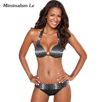 Minimalism Le Sexy Halter Top Bikini 2017 New Swimwear Women Swimsuit Push Up Beach Wear Brazilian