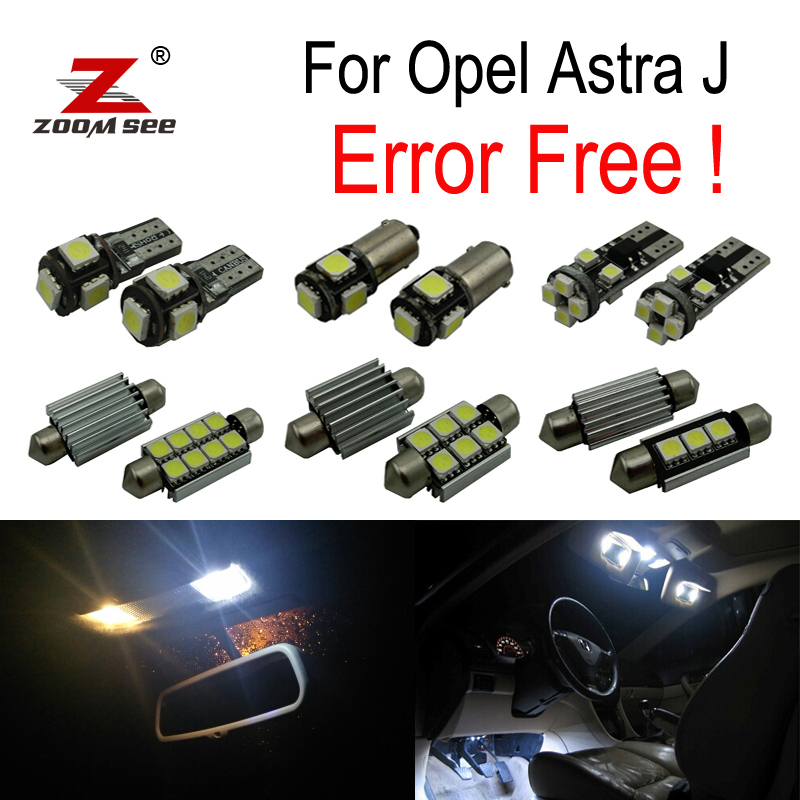 9pcs Error free for Opel Astra J  OPC GTC Sports Tourer Hatchback LED bulb Interior Light Kit  (2009-2015) 18 smd led number license plate light module for opel vauxhall astra j sports tourer estate zafira tourer c