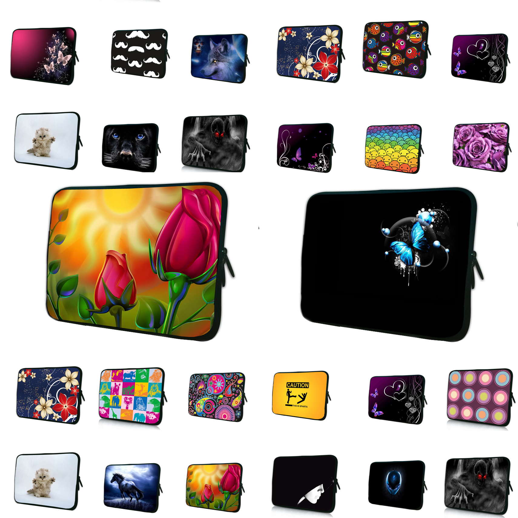 10 Flower Soft Neoprene Sleeve Case Bag Cover Pouch Hide Handle For 9.7 10 10.1 10.2 10.6 Netbook Tablet Laptop PC