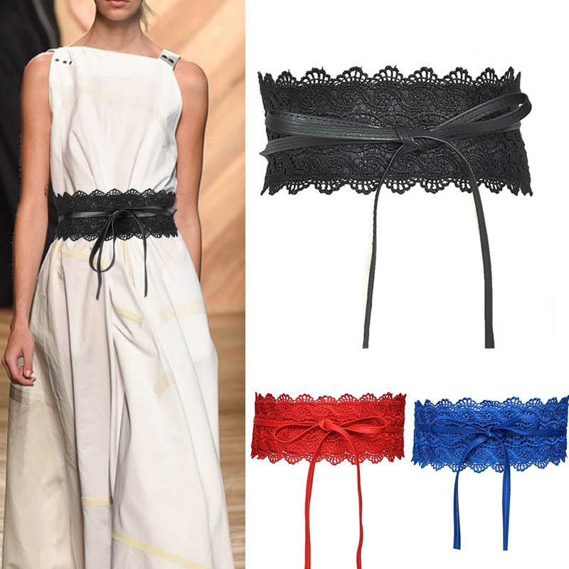 1 Pcs Women Lady Dress Belt Lace Wide Waist Strap PU Decoration Fashion Waistband JL