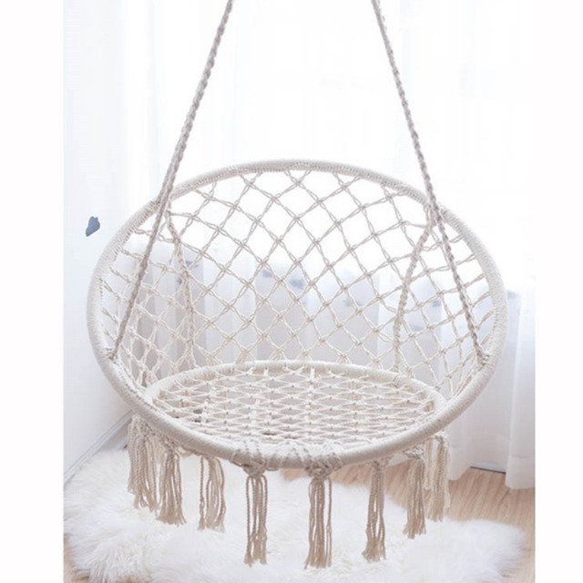 Hanging Chair Swing Big Round Bamboo 120 80cm Backyard Hammock Durable Safety Comfortable Outdoor Hamak For Kids Children Family Playing Hamac