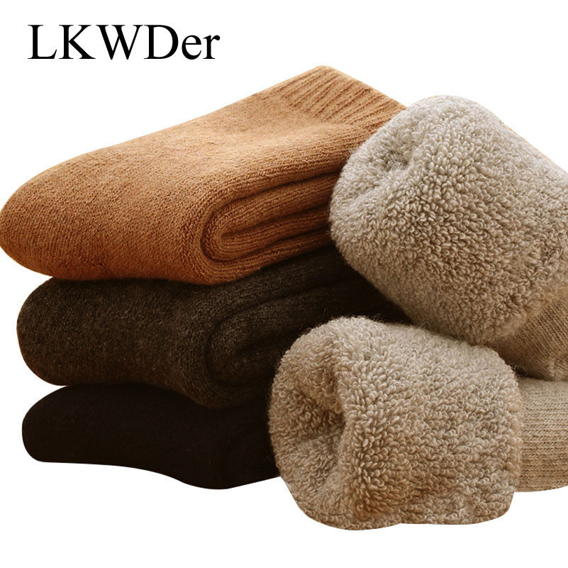 LKWDer 5 Pairs Mens Wool   Socks   Super Thicker Merino Wool Rabbit   Socks   Against Cold Snow Russia Winter Warm Funny Happy   Socks   Men