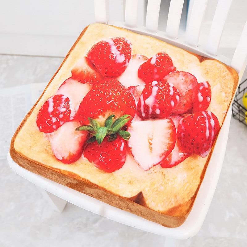 1 Pc 40*40 Cm Obst Toast Kissen Lecker Lebensmittel Kissen Mit Quilt Stoff Weich Und Bequem Für Kinder Als Geburtstag Präsentieren