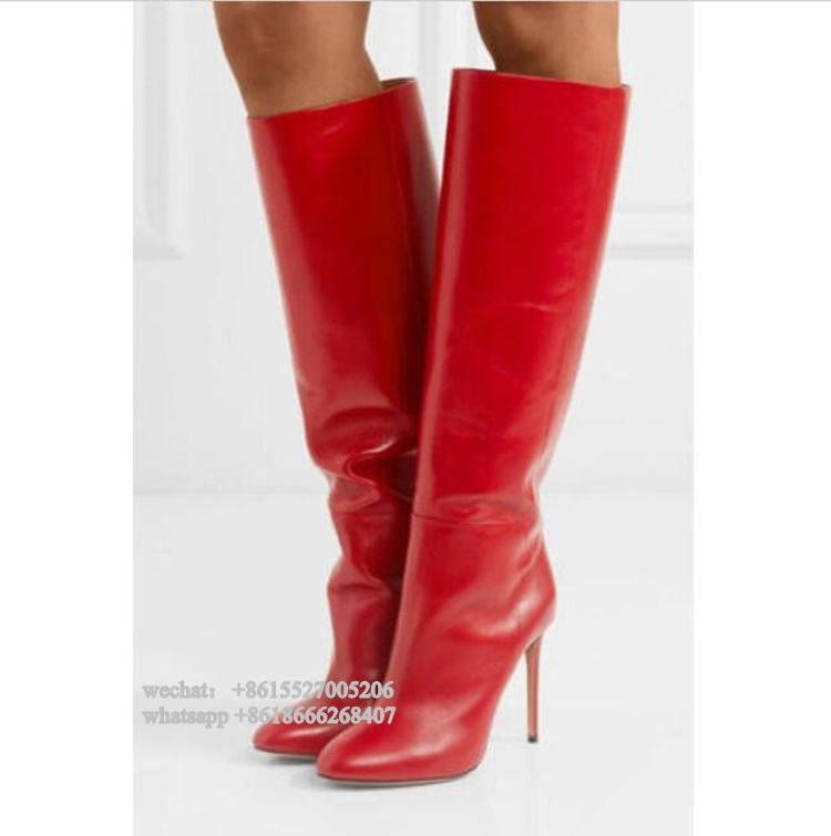 Fashion Red Leather Pointed Toe Thin High Heel Women Boots Winter Knee Boots Plus size 43 women stretch flock leather over the knee boots sqaure high heel fashion pointed toe boots autumn winter long boots plus size 43