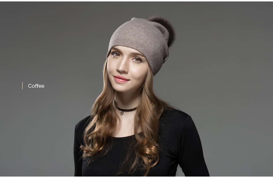 Mosnow Hat Female Women Raccoon Wool Fox Fur Pom Poms Warm Knitted Casual High Quality Vogue Winter Hats Caps Skullies Beanies1 (11)