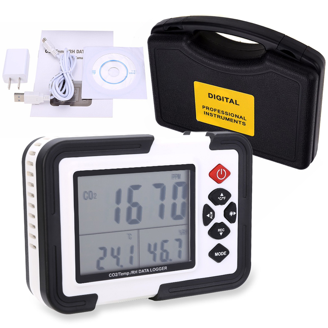 USB Carbon Dioxide Meter CO2 Data Air Temperature LCD Logger Humidity Meter Tester For Measuring CO2 Concentration