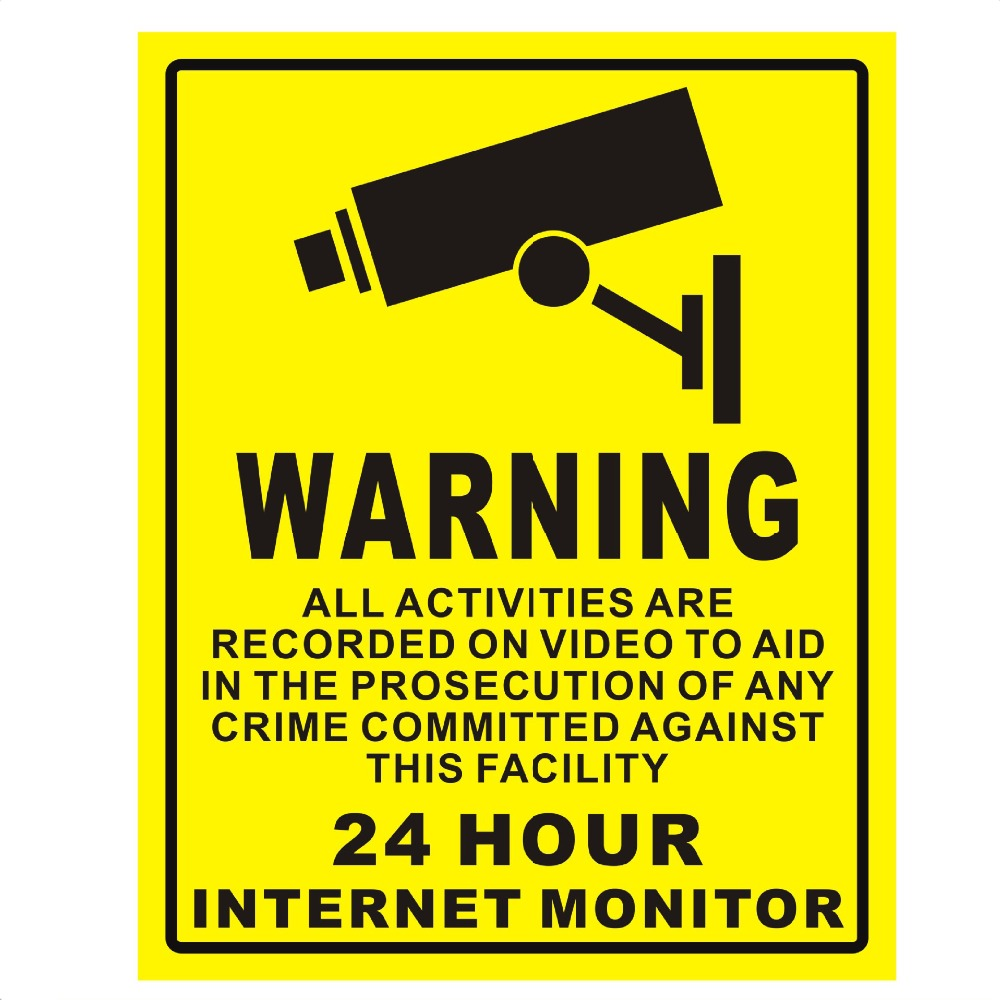 20*25cm Surveillance Warning Sign Sticker 24 Hours Monitor Alert Wall Sticker CCTV Camera System Video Security Sticker Decals