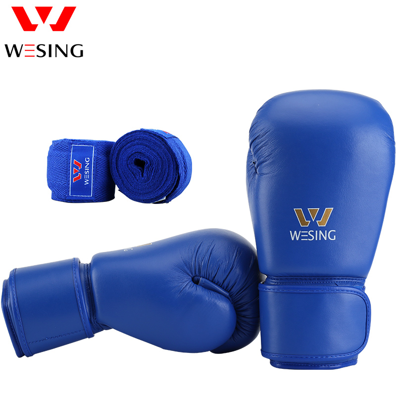 Wesing Professional Boxing Gloves with Cotton Handwraps Bandages Training Competition Kickboxing Sanda Martial Arts Gloves