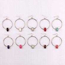 Горячее предложение, модный дизайн, вдохновленные овальные когти, граненый камень из смолы, круглые серьги-кольца для женщин, девушек, рождественский подарок