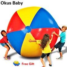 Новейший 80 см/100 см гигантский надувной пляжный мяч большой трехцветный утолщенный ПВХ волейбол на воде Футбол открытый вечерние детские игрушки
