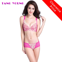 TANG YOUNG Embroidery Soft Bra Set Women Ultra Thin Rose Red Luxury Underwire Bra Brief Sets