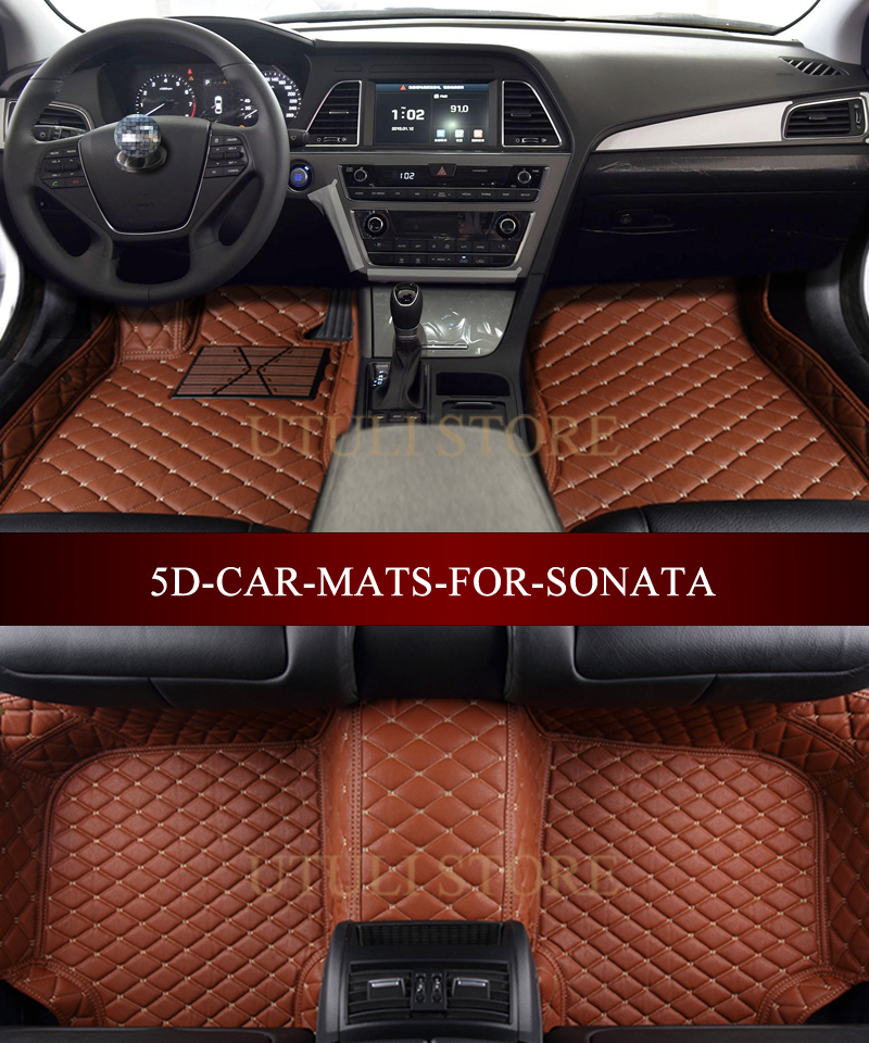 Leather Car Floor Mats For Hyundai Sonata Accent Verna Azer Elantra Av Custom Fit All Weather Carpet Liners Foot In From