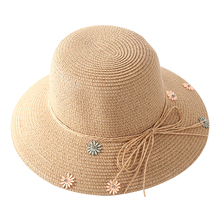 Parent-child Straw Sun Hats For Korean Women Cap Anti-UV Beach Summer Girls Floppy Ladies Bow Flower Bucket