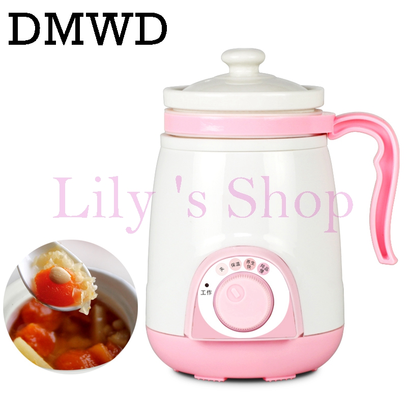 DMWD ceramics soup stewing porridge stew slow cooker mini water heating cup electric kettle boiler office milk water heater 0.4L free shipping water stew porridge soup purple white porcelain electric slow cooker