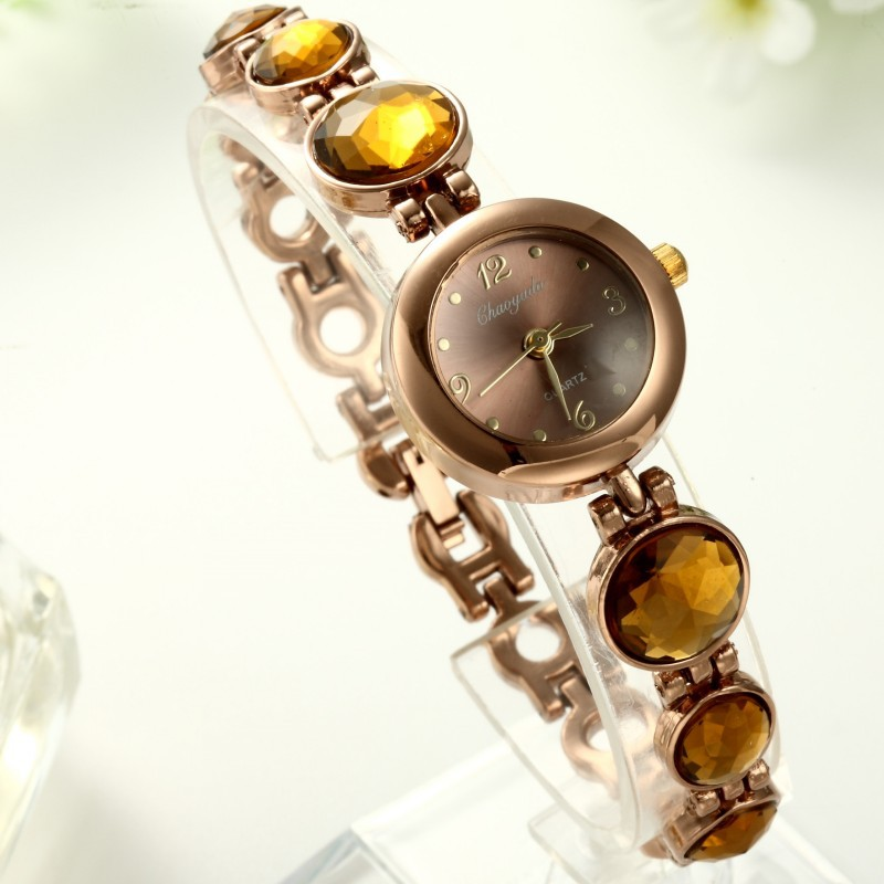 New Round Dial Quartz Women Watches Major Vintage Fashion Yellow Stone Bracelet Wristwatch Clock Hot Sale Reloj Drop Shipping