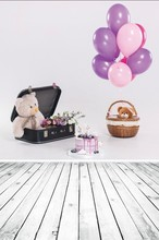 Laeacco Cake Balloon Carriage Wooden Board Baby Birthday Photo Backdrops Customized Photographic Backgrounds For Studio