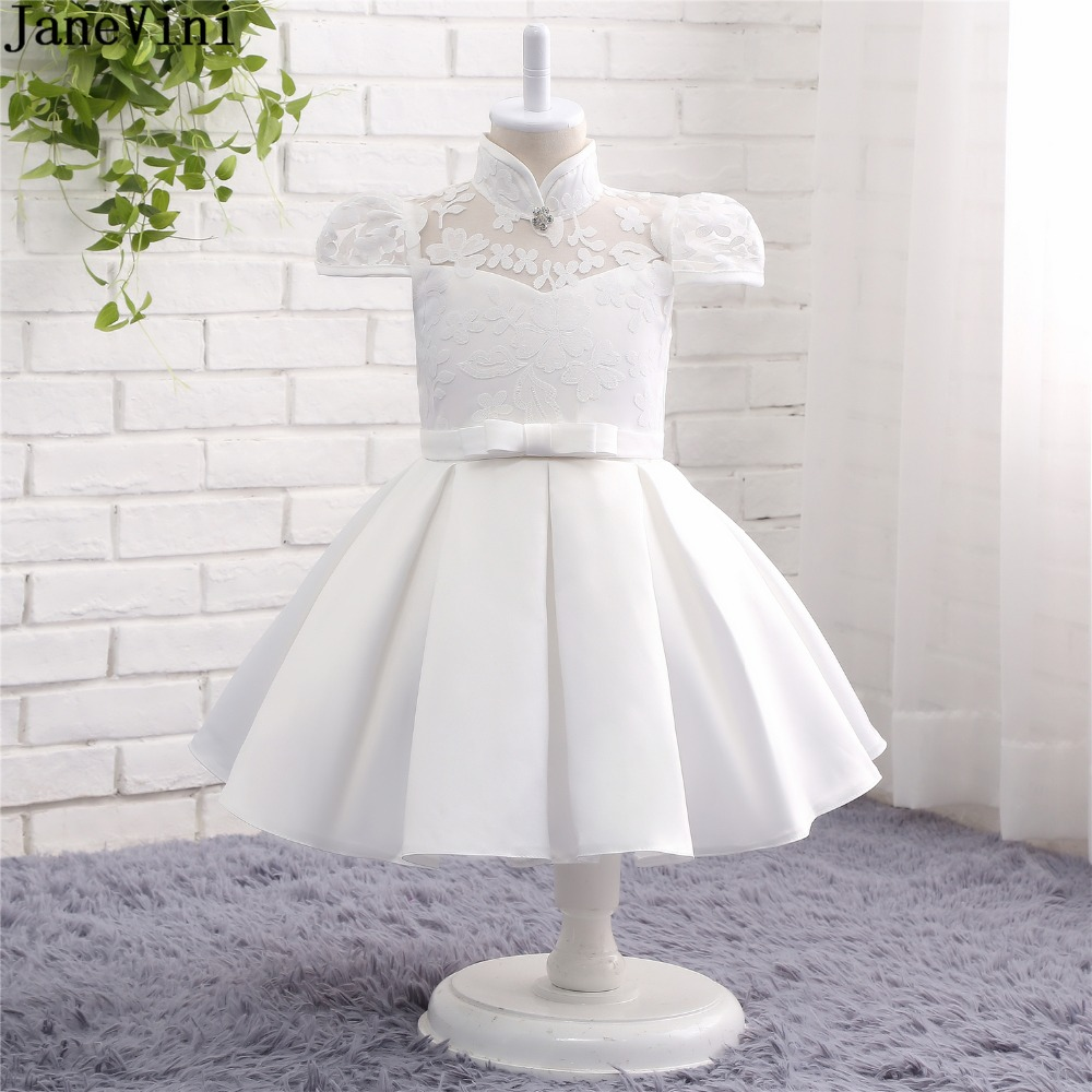 JaneVini Ivory Ball Gown   Flower     Girl     Dresses   High Neck Short Sleeves Lace   Flowers   Pattern Knee Length Kids Christmas Party Gowns