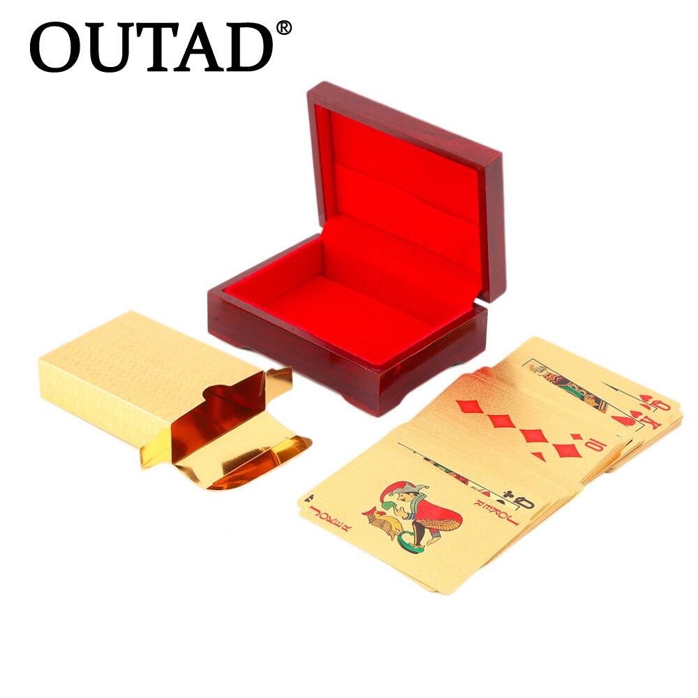 Feuille d'or Cartes À Jouer Texas Hold'em Poker Feuille D'or Plaqué Poker Carte Drôle de Haute qualité Sport Loisirs Jeu Pokerstars cadeau