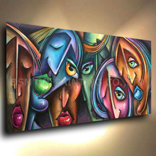Top Artist Hand-painted Abstract Portrait Oil Painting on Canvas Colorful Different Faces Oil Painting Unique Gift for Friends вино виноград painted faces