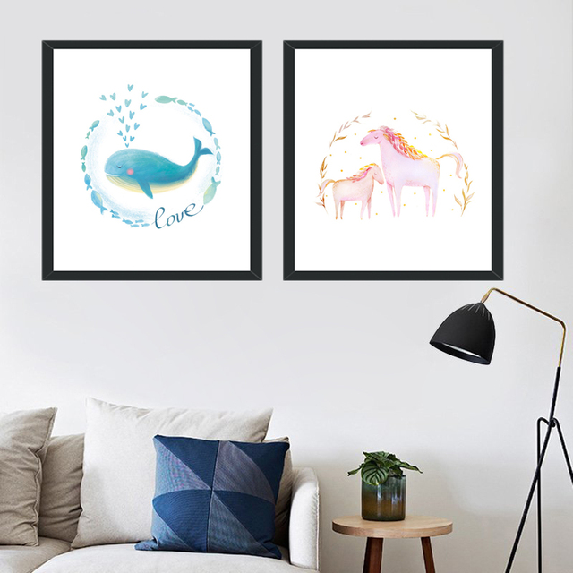 Canvas Art Prints Cartoon Painting Poster Wall Watercolor Whales Horse Decor  Picture For Bedroom Living Room