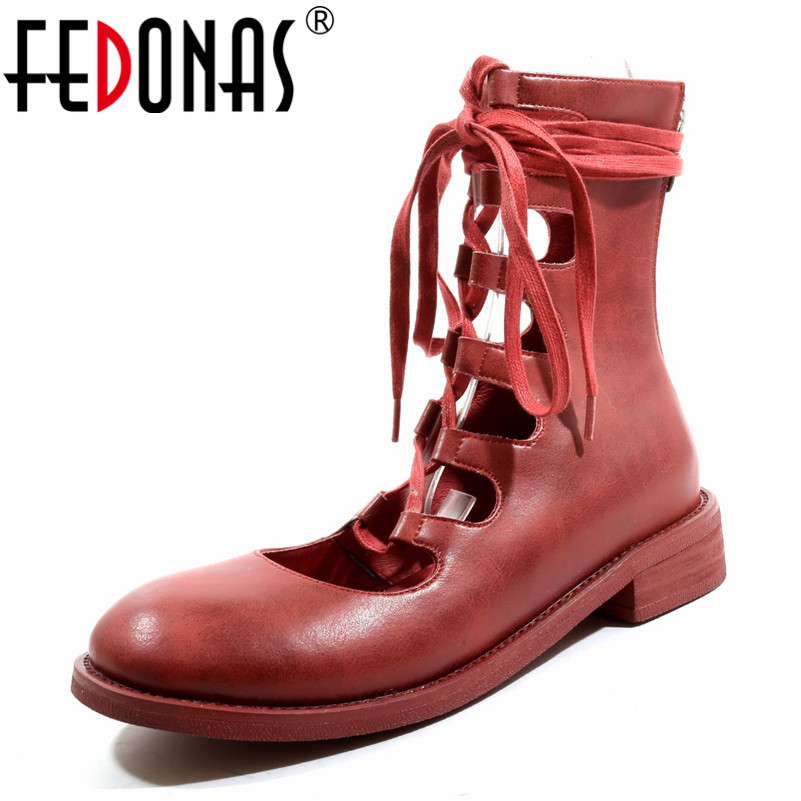 FEDONAS Brand Women Genuine Leather Med High Heels Summer Boots Corss tied Party Daning Shoes Woman