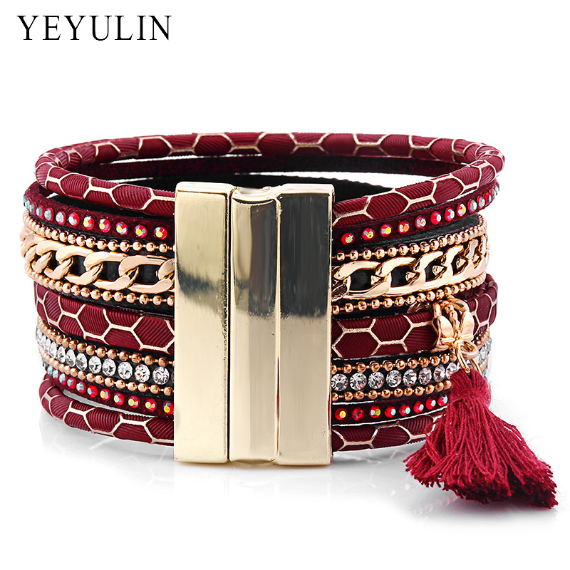 High Grade Bohemian Leather Multilayer Bracelets Magnetic Buckle for Women Men Bangles Jewelry